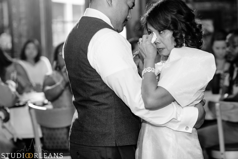 An Oceana Grill wedding in New Orleans groom and his mother dance