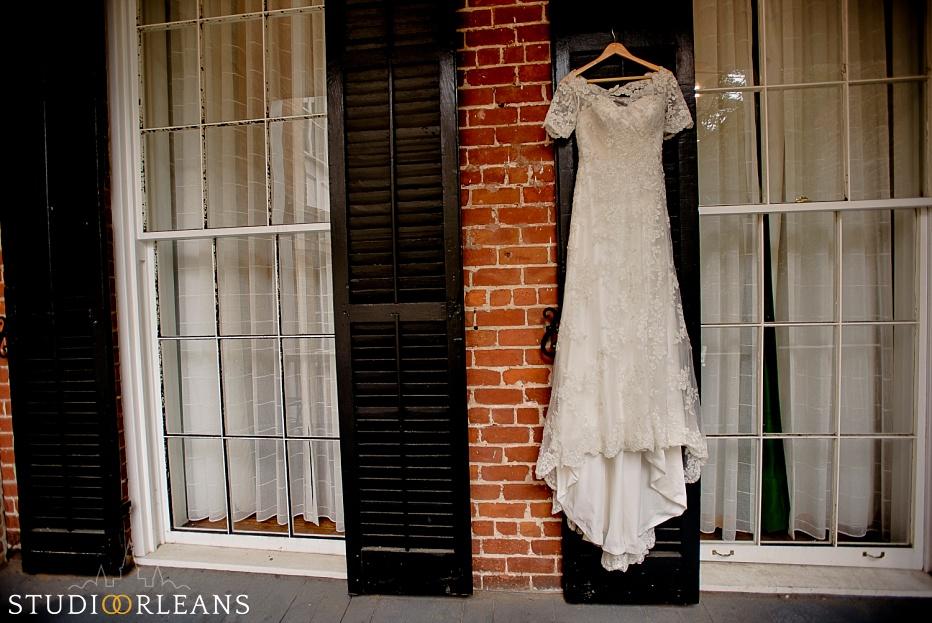 Wedding dress hanging at the Chateau Lemoyne Hotel