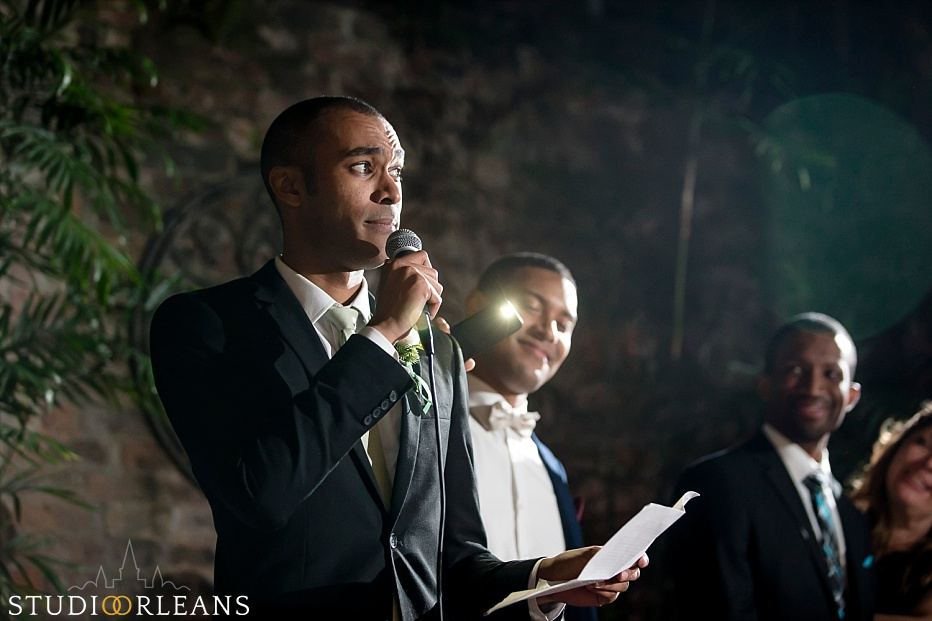 The best man gives his speech at the Chateau Lemoyne hotel wedding
