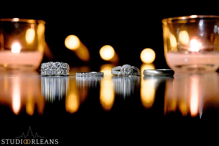 Beautiful wedding rings at the Chateau Lemoyne hotel