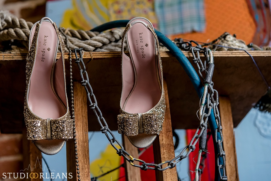 Beautiful Kate Spade shoes on some decor at the Old 77 hotel in the French Quarter in New Orleans