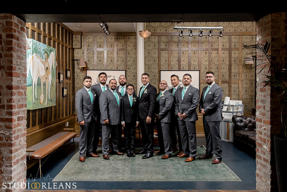 The groom and groomsmen at the Old 77 hotel in New Orleans