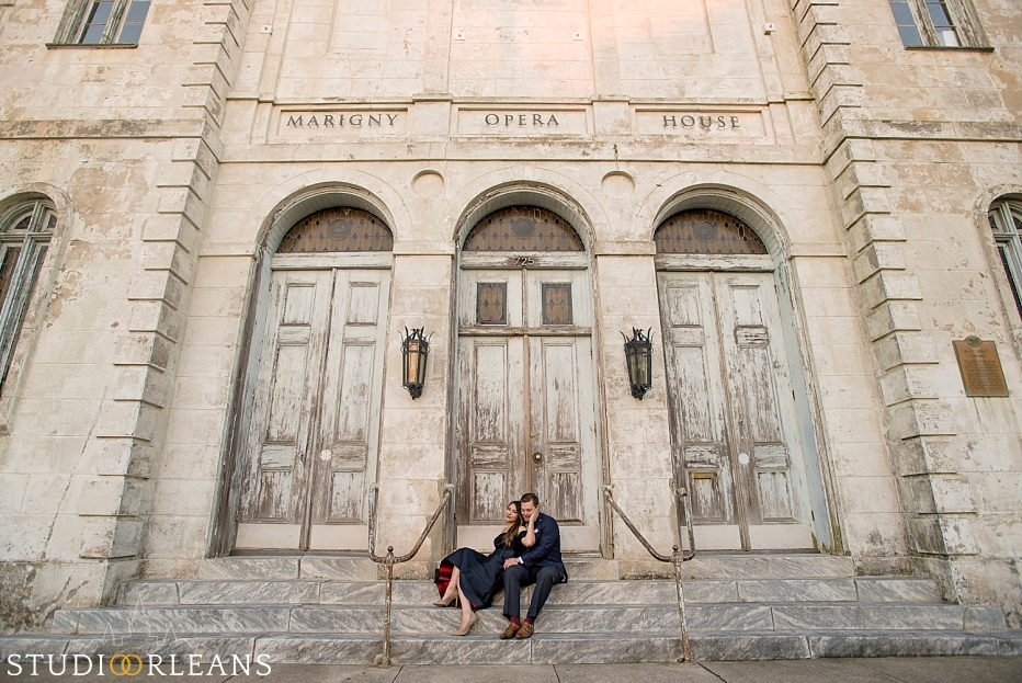 Engagement session in New Orleans at the Marigny Opera House
