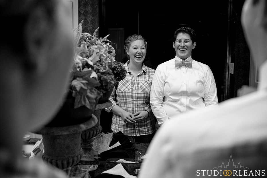 The couple look at one another as they prep for there wedding at the House of Blues in New Orleans