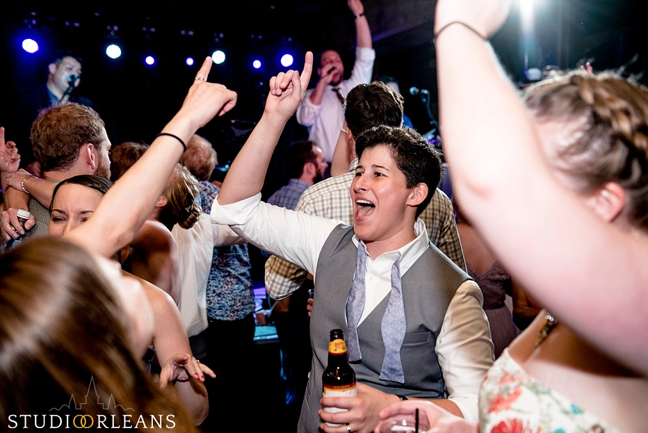 House of Blues wedding reception partying on the dance floor - Same sex wedding in New Orleans